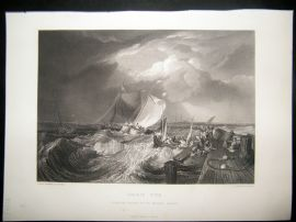 After Turner 1861 Antique Print, Calais Pier, Maritime, France, Art Journal